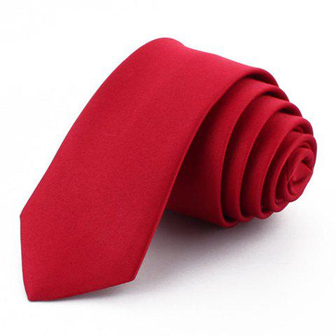 Discount Chic 5 CM Wide Design Solid Color Tie For Men WINE RED