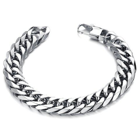 Chic Stylish Solid Color Link Chain Bracelet For Men - SILVER  Mobile