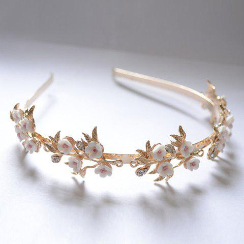 Fashion Retro Style Rhinestone and 3D Flower Embellished Hairband For Women GOLDEN