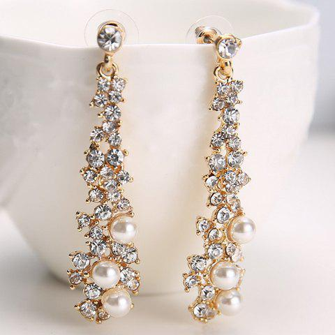 Outfit Pair of Alloy Rhinestone Faux Pearl Drop Earrings