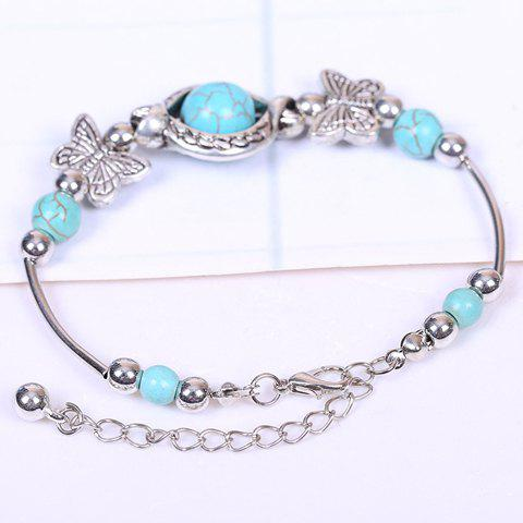 Latest Retro Faux Turquoise Butterfly Bracelet SILVER AND BLUE
