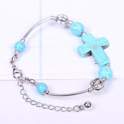 Cheap Faux Turquoise Cross Bracelet - SILVER AND BLUE  Mobile