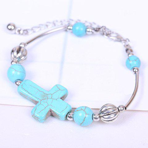 Trendy Faux Turquoise Cross Bracelet SILVER AND BLUE