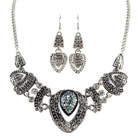 Store A Suit of Vintage Rhinestone Drip Pendant Necklace and Earrings