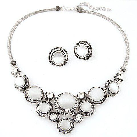 Faux Opal Statement Necklace and Earrings - SILVER