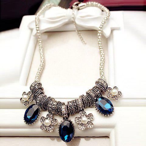 Sale Retro Style Faux Crystal and Artificial Pearl Embellished Oval and Flower Pendant Necklace For Women BLUE