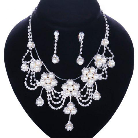 Latest A Suit of Stylish Women's Beads Faux Pearl Necklace And Earrings