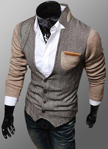 Outfit Trendy PU Leather Embellished Pocket Stand Collar Slimming Fabric Splicing Long Sleeves Men's Coat KHAKI 2XL