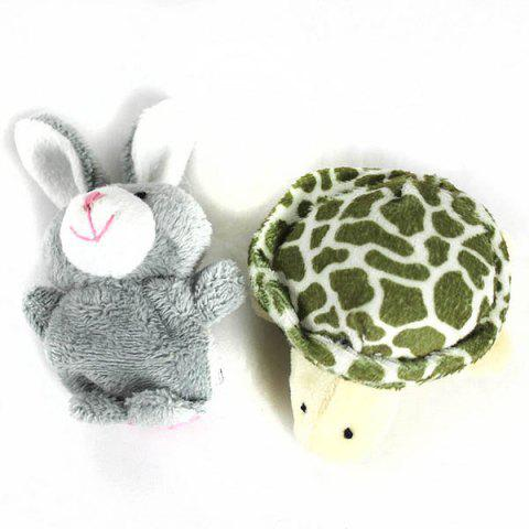 Sale 2Pcs Cute Doll Design Plush Toy Finger Puppets Telling Story Doll Props Rabbit + Turtle - AS THE PICTURE  Mobile