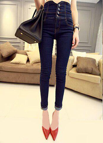 Online Casual High Waist Single Breasted Pencil Jeans For Women