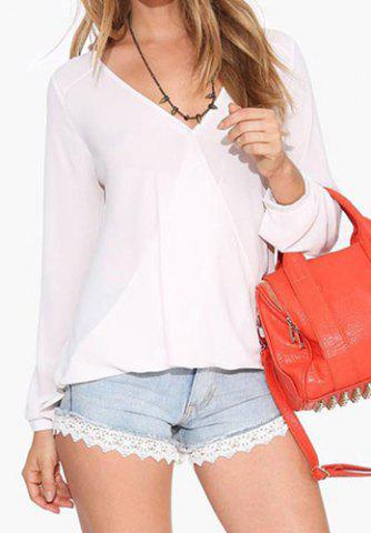 Discount Stylish Plunging Neck Long Sleeve Solid Color Women's Blouse