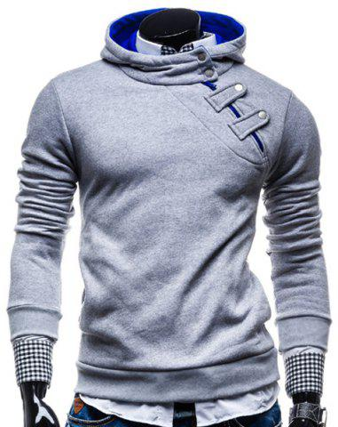 Stylish Hooded Slimming Color Splicing Zipper Design Long Sleeve Thicken Polyester Hoodie For Men - Light Gray - M