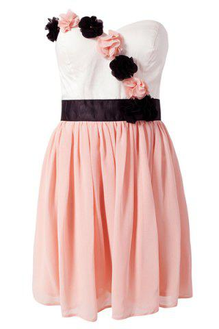 Trendy Sweet Style Strapless Color Block Stereo Flower Women's Dress PINK S