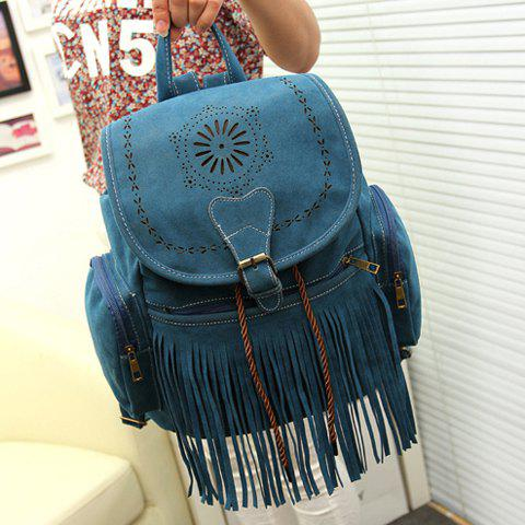 Cheap Retro Engraving and Fringe Design Women's Satchel - BLUE  Mobile