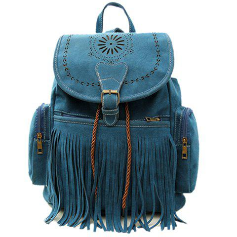 Best Retro Engraving and Fringe Design Women's Satchel - BLUE  Mobile