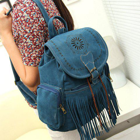 Outfit Retro Engraving and Fringe Design Women's Satchel - BLUE  Mobile