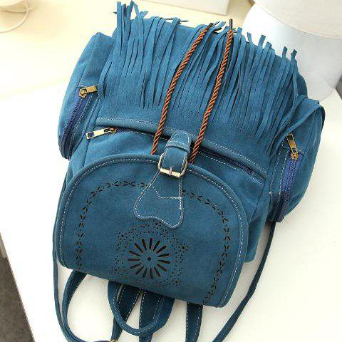 Hot Retro Engraving and Fringe Design Women's Satchel - BLUE  Mobile