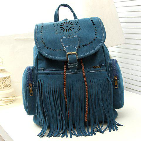 Online Retro Engraving and Fringe Design Women's Satchel - BLUE  Mobile