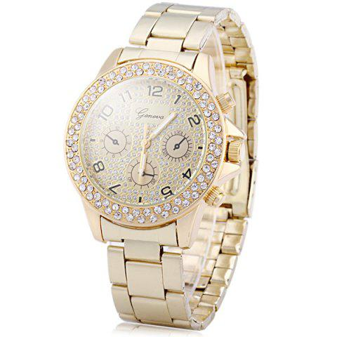 Cheap Geneva Diamond Decorative Sub-dials Quartz Watch Stainless Steel Band for Women