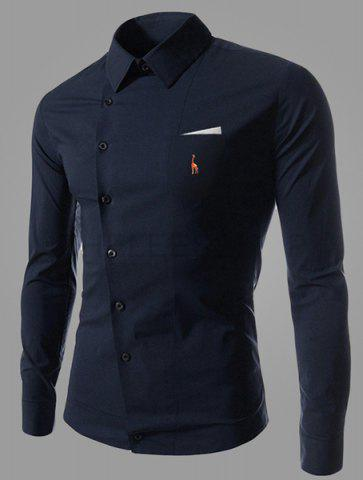 Best Novel Turn-down Collar Inclined Button Fly Slimming Deer Embroidery Long Sleeves Men's Shirt DEEP BLUE M