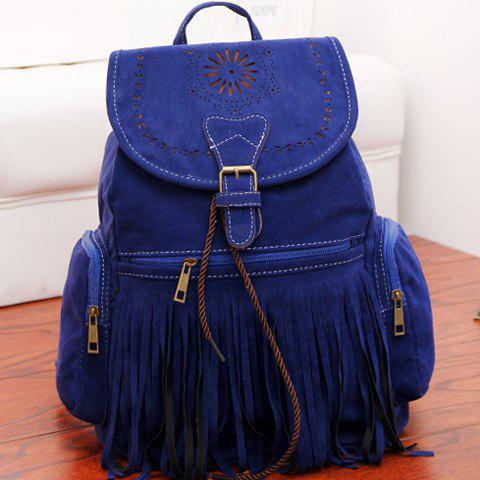 Shops Retro Engraving and Fringe Design Women's Satchel - SAPPHIRE BLUE  Mobile