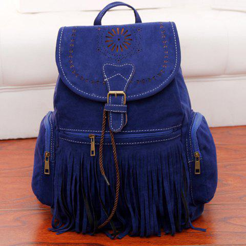 Outfit Retro Engraving and Fringe Design Women's Satchel - SAPPHIRE BLUE  Mobile