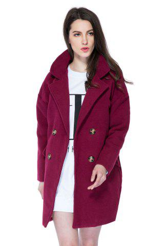 Shop Stylish Lapel Neck Long Sleeve Solid Color Double-Breasted Loose-Fitting Women's Coat WINE RED L
