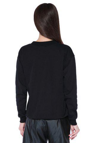 Latest Casual Style Round Collar Long Sleeve Portrait and Letter Print Women's Sweatshirt - L BLACK Mobile