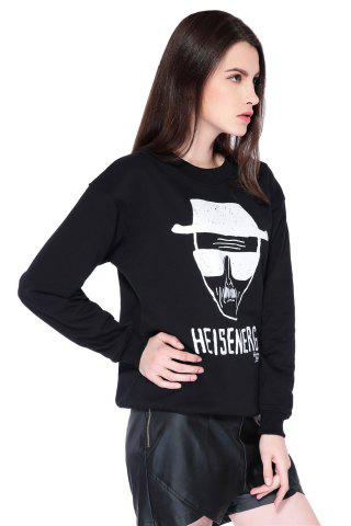 Chic Casual Style Round Collar Long Sleeve Portrait and Letter Print Women's Sweatshirt - L BLACK Mobile