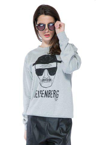 Chic Casual Style Round Collar Long Sleeve Portrait and Letter Print Women's Sweatshirt - M GRAY Mobile