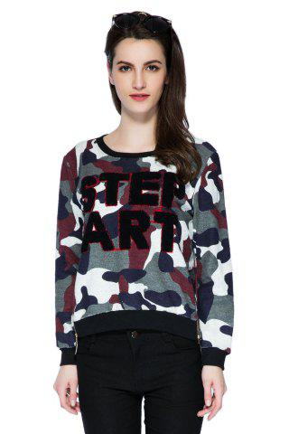 Stylish Scoop Collar Long Sleeve Letter and Camouflage Pattern Women's Sweatshirt - COLORMIX - XL