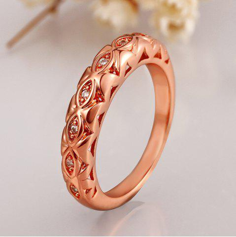 Chic Chic Women's Printed Rhinestone Decorated Ring - US SIZE 8 ROSE GOLDEN Mobile
