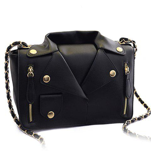 Buy Retro Style Chain and Clothes Pattern Design Women's Crossbody Bag - BLACK  Mobile