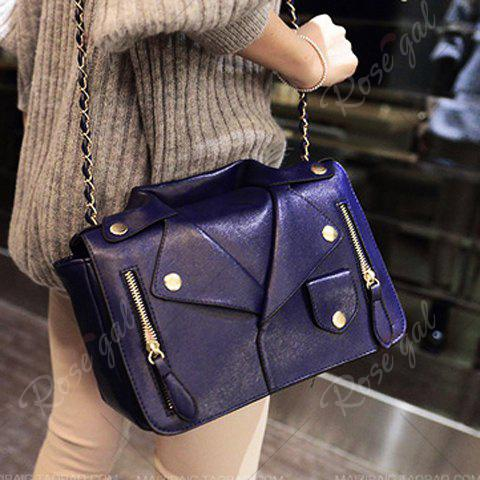 Shops Retro Style Chain and Clothes Pattern Design Women's Crossbody Bag - BLUE  Mobile