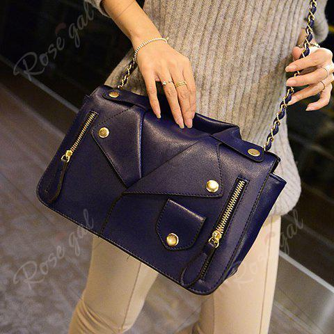 Fashion Retro Style Chain and Clothes Pattern Design Women's Crossbody Bag - BLUE  Mobile