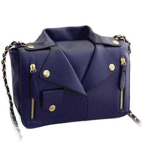 Buy Retro Style Chain Clothes Pattern Design Women's Crossbody Bag - Blue