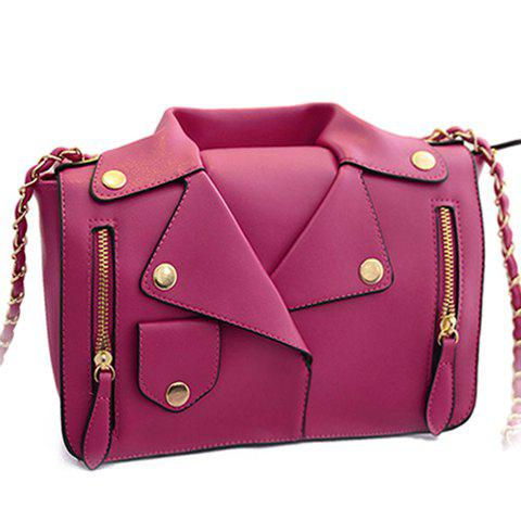 Shops Retro Style Chain and Clothes Pattern Design Women's Crossbody Bag - ROSE  Mobile