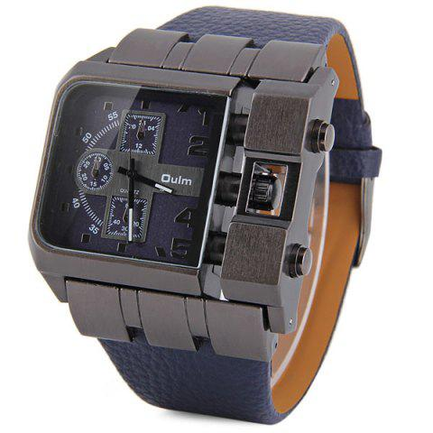 Trendy Oulm 3364 Male Quartz Watch with Square Dial Leather Watchband