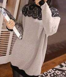 Fashionable Round Neck Lace Spliced Long Sleeve Women's Sweatshirt