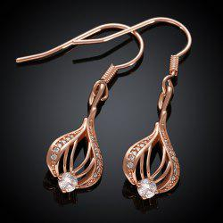 Pair of Openwork Gold Plated Rhinestone Drop Earrings