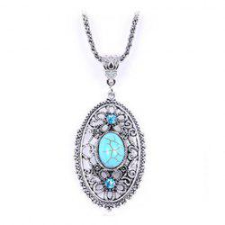 Fake Turquoise Ellipse Pendant Sweater Chain -