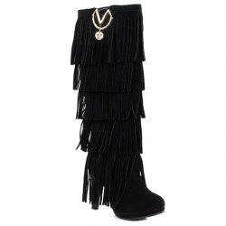 Trendy Suede and Fringe Design Women's Knee-High Boots - BLACK