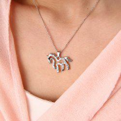 Cute Women's Rhinestone Openwork Horse Necklace