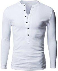 Stylish V-Neck Slimming Button Design Fabric Splicing Long Sleeve Polyester Polo Shirt For Men - WHITE