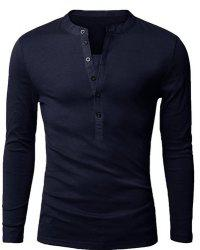 Stylish V-Neck Slimming Button Design Fabric Splicing Long Sleeve Polyester Polo Shirt For Men - CADETBLUE