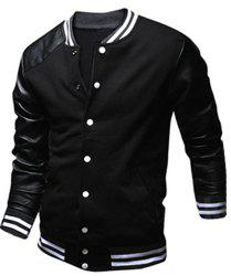 Stylish Stand Collar Slimming Color Block PU Leather Splicing Long Sleeve Polyester Jacket For Men - BLACK