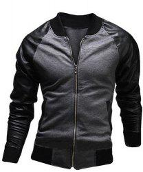 Stylish Stand Collar Slimming Pocket Design Fabric Splicing Long Sleeve Polyester Jacket For Men - GRAY