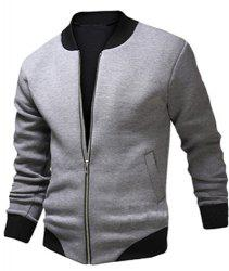 Stylish Stand Collar Slimming Color Block Rib Splicing Long Sleeve Polyester Jacket For Men - LIGHT GRAY
