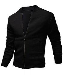Stylish Stand Collar Slimming Color Block Rib Splicing Long Sleeve Polyester Jacket For Men