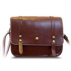 Trendy Rivets and Belt Design Women's Crossbody Bag - BROWN